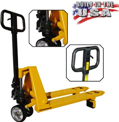 Low profile (lowered height) pallet jack